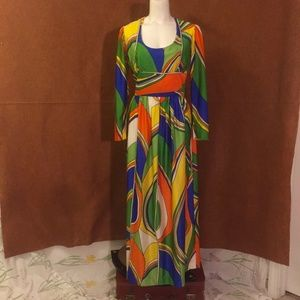 VINTAGE 60s 70s Abstract Psychedelic Disco Dress
